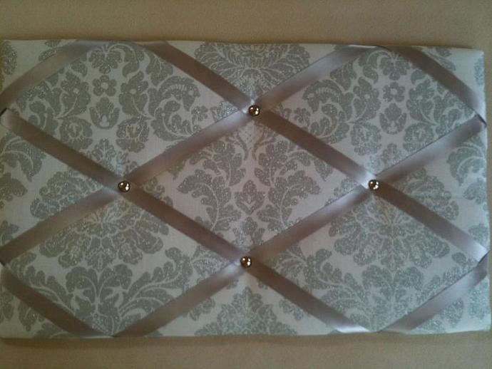 Notice Boards, Memo Boards, French Boards, Silver Damask Sparkle