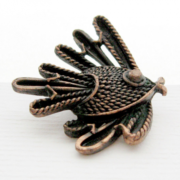 Solid Copper Metal Art Tropical Fish Figural Brooch Pin