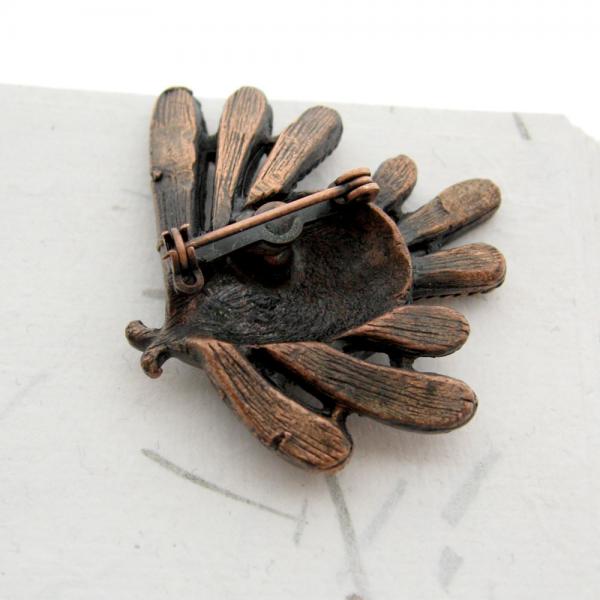 Solid Copper Metal Art Tropical Fish Figural Brooch Pin