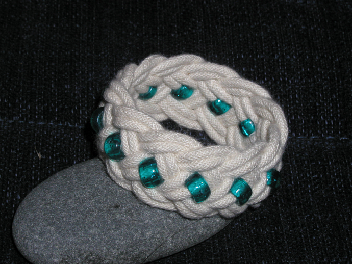 green beaded turks head knot rope bracelet child bracelet handmade beach