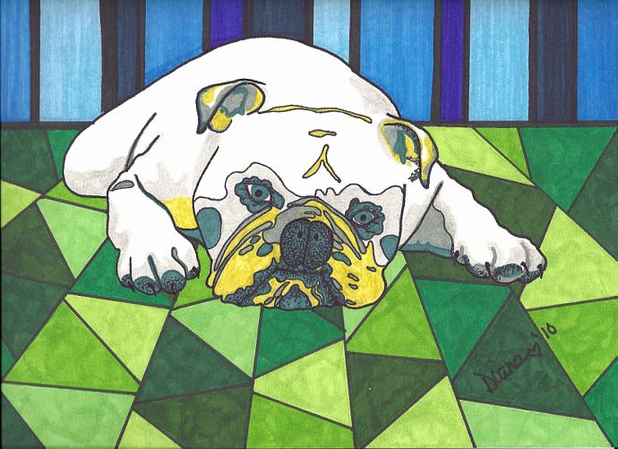 Bulldog - matted print