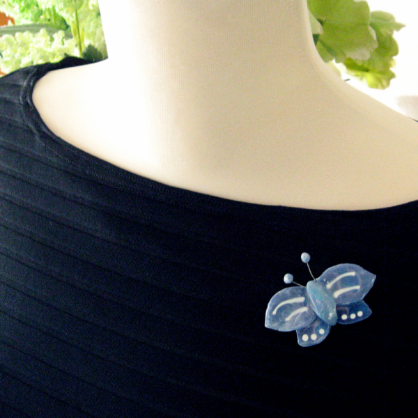 80s Lacombe Whimsiclay Blue Butterfly Pin Brooch