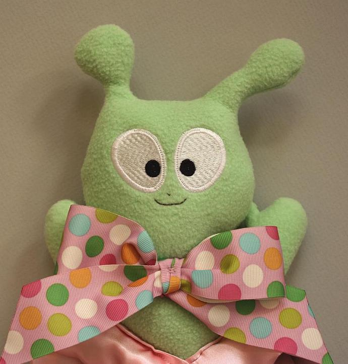 Green Alien Lovey Blanket, Satin, Baby Blanket, Stuffed Animal, Baby Toy -
