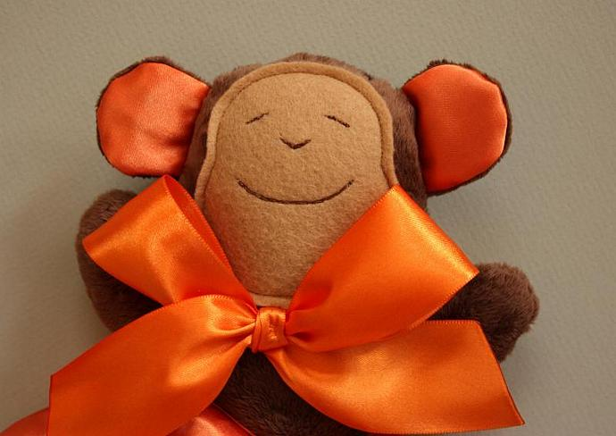 Minky Brown Monkey Lovey Blanket, Satin, Baby Blanket, Stuffed Animal, Baby Toy