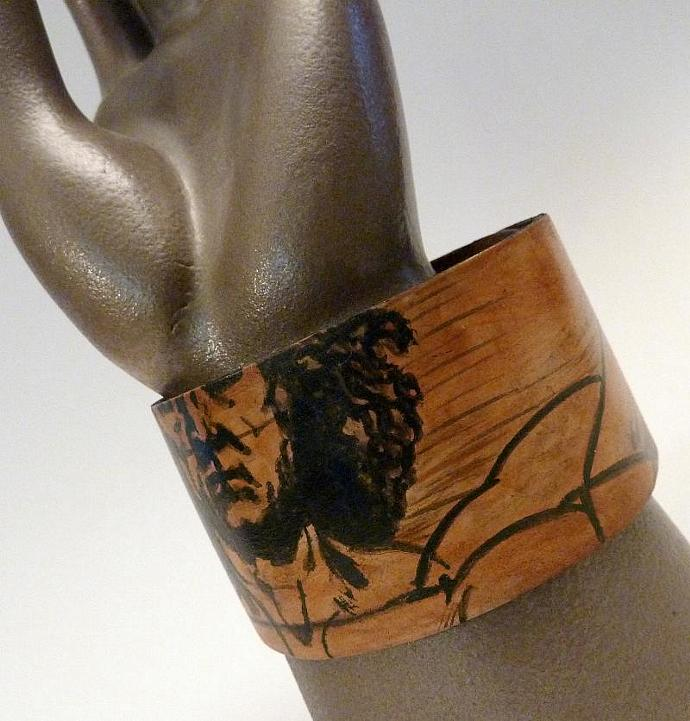 ART SLICE Hand Painted Leather Cuff Da Vinci Vitruvian Man
