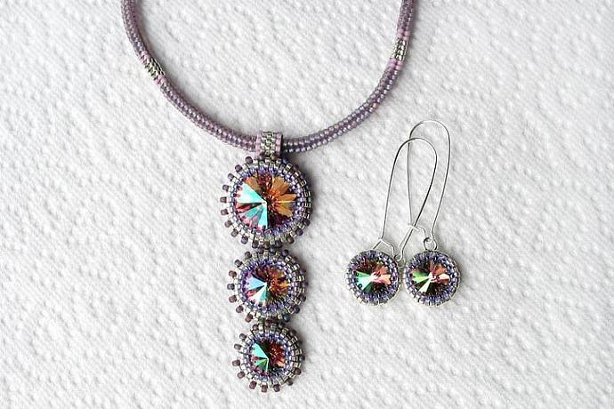 Swarovski rivoli stone necklace choker and earrings set MADE TO ORDER