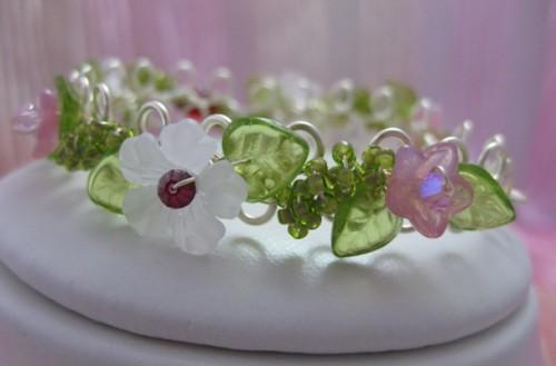 White HIbiscus May Day Bracelet