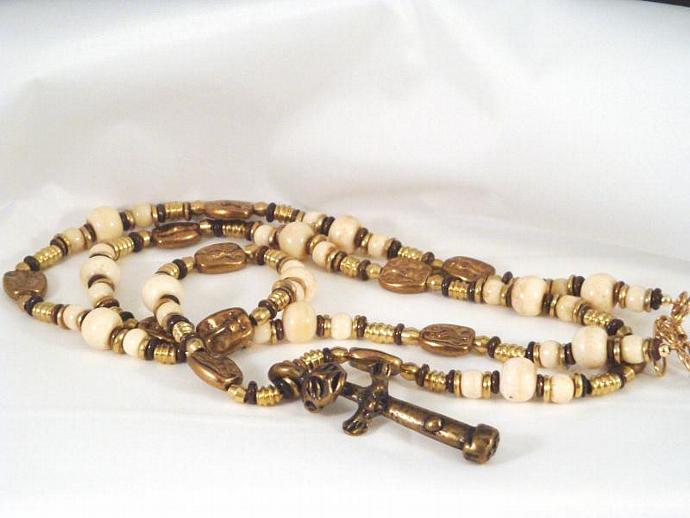 Ghandian Bone and Bronze Pendant Necklace