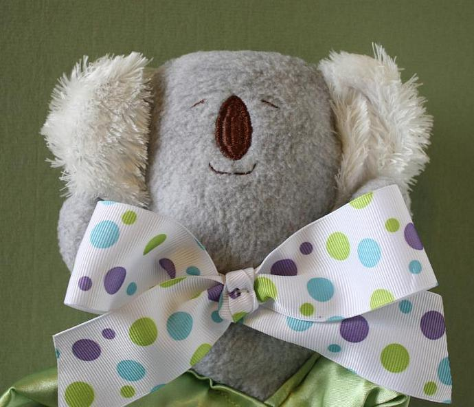 Gray Koala Bear Lovey Blanket, Satin, Baby Blanket, Stuffed Animal, Baby Toy -