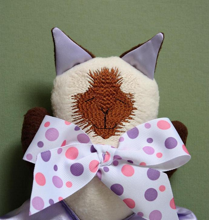 Siamese Cat Lovey Blanket, Satin, Baby Blanket, Stuffed Animal, Baby Toy -