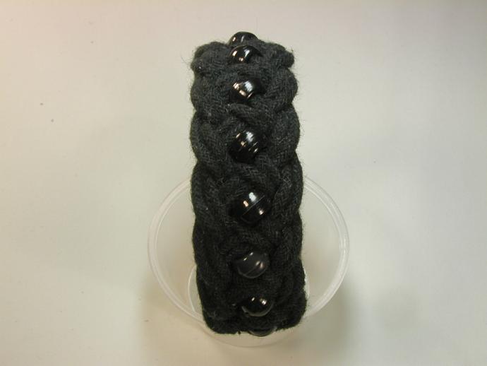 black beaded turks head knot bracelet MEDIUM 120