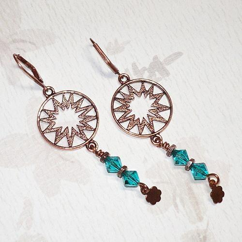 Sunburst Antique Copper & Swarovski Blue Zircon Chandelier Earrings