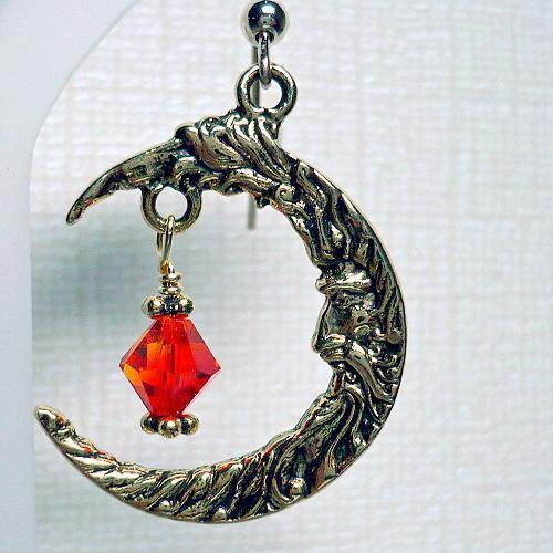 Moon Chandelier Earrings with Swarovski Fire Opal Crystals