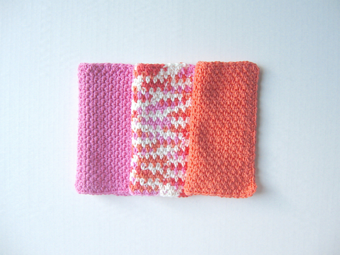 Tangerine and Pink Crochet Washcloth - set of 3