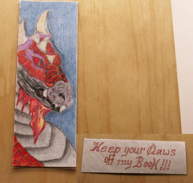 Hand drawn / double sided / laminated Dragon Bookmark