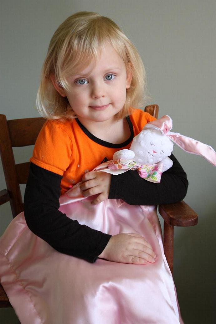 Minky White Bunny Rabbit Lovey Blanket, Satin, Baby Blanket, Stuffed Animal,