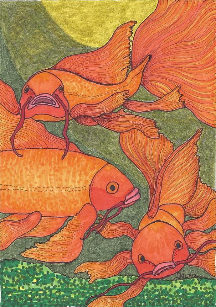Goldfish (Koi)- matted print