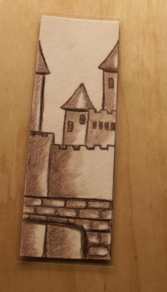 "Hand drawn Earth Tone Fantasy Bookmark ""Burg"" laminated"