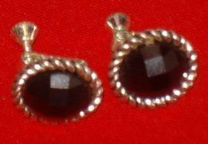 Vintage - Silver Tone & Black Stone Screw Back Earrings