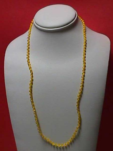 "Vintage - 24"" Yellow 1/8"" Beaded Necklace"