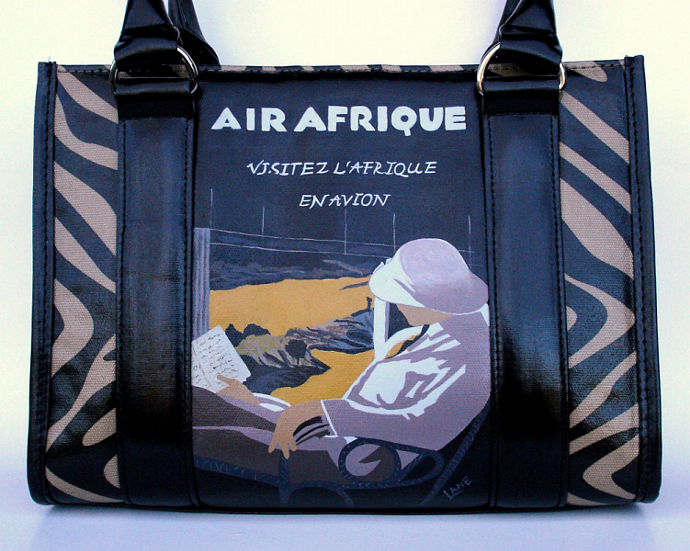 SALE!!!  Afrique Travel Poster ~ Hand Painted Purse