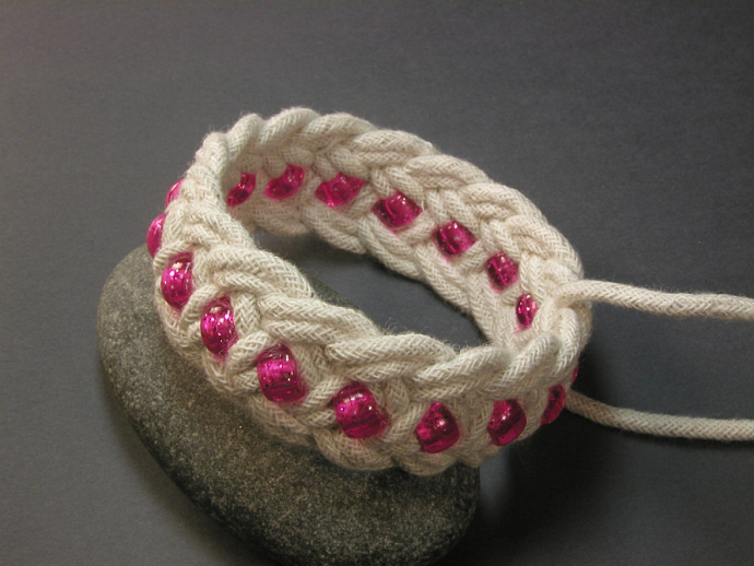 pink beaded turks head knot bracelet MEDIUM 353