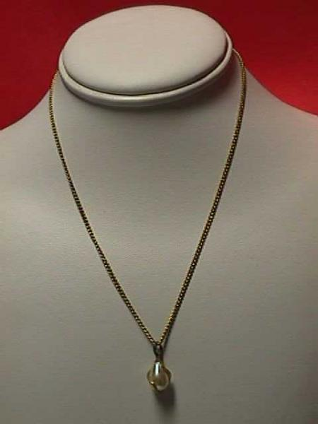 "Vintage - 16"" Delicate Goldtone Chain Captured Pearl Necklace"