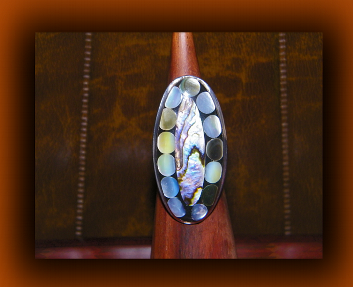 Elongated Adjustable Shell Ring w/ Paua Abalone