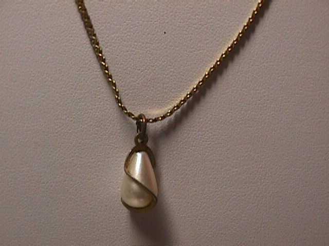 "Vintage - 20"" Fine Serpentine Gold Chain Tear Drop Pearl Necklace"
