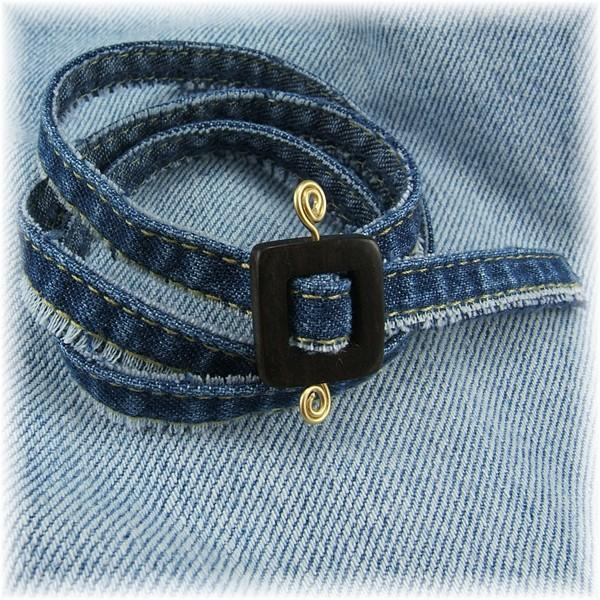 Denim Wrap Bracelet with Kamagong Wood Clasp