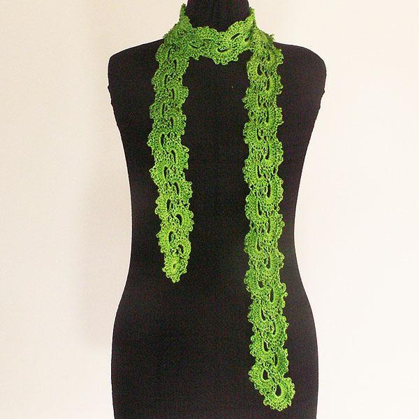 Green Crocheted Rayon Skinny Scarf