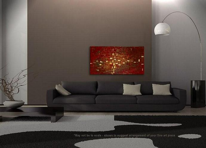 48x24 Abstract Impasto Knife Painting Modern Warm Colors Browns Neutral Decor