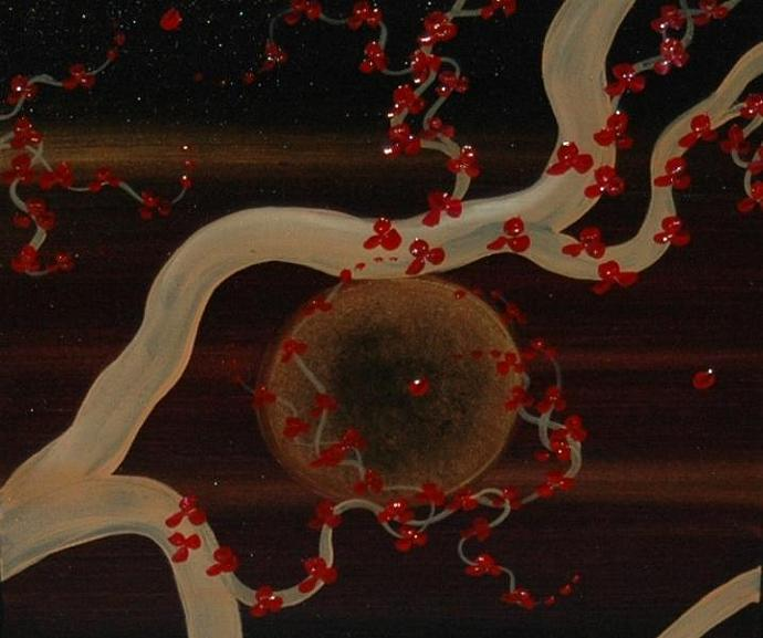 48x20 Masculine Midnight Plum Blossom Painting Custom Original Art