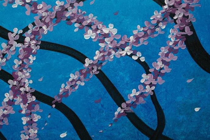 72x36 Blue Cherry Blossom Painting Huge Original Asian Style Art CUSTOM