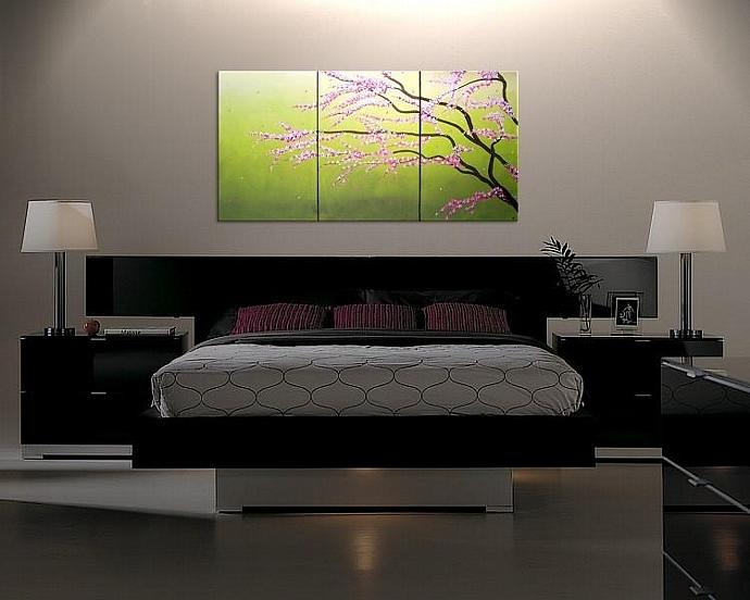 72x36 Large Cherry Blossom Painting Lime green and pink Custom Art