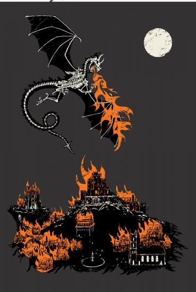 Men's Organic Dragon and Burning Castle Shirt