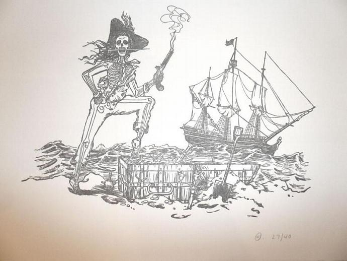 Limited-Edition Pirate Skeleton Letterpress Print, 8 x 10 Inches