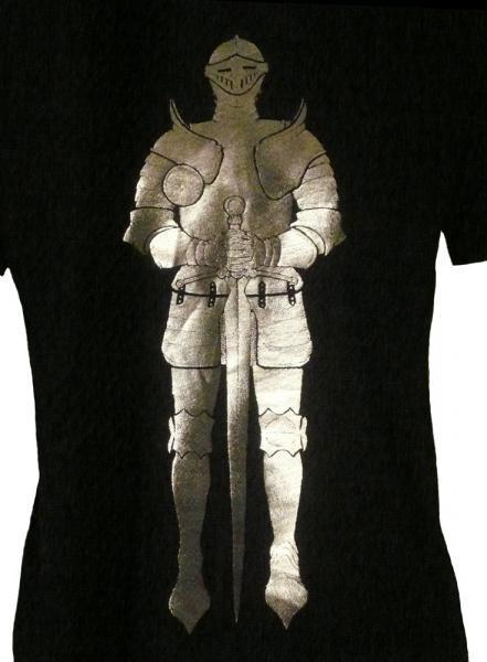 Men's Organic Medieval Knight in Armor Shirt, Silver Foil