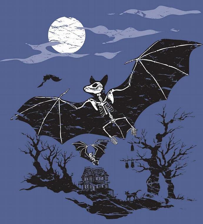 Men's Organic Bat Skeleton Shirt, Blue, Glows in the Dark
