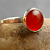 Crush, carnelian solitaire ring