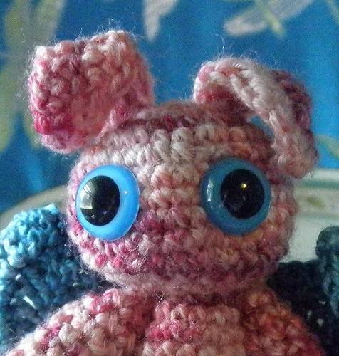 Tiny Pink Winged Bunny Angel flitterbunny
