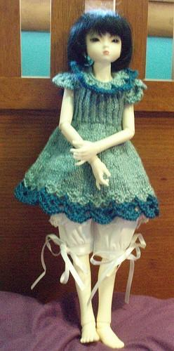 Mint & Indigo Knit doll dress,  for ball jointed doll MSD BJD