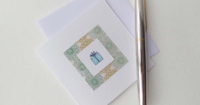 Original birthday card aqua present square white card lace  5