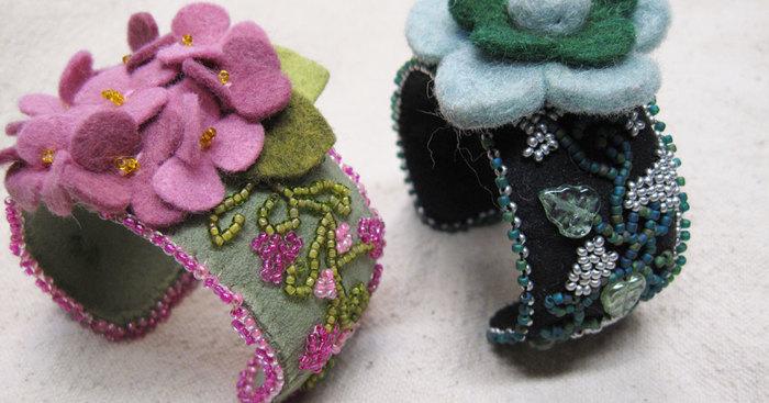 Original wool felt flower bead embroidery bangles