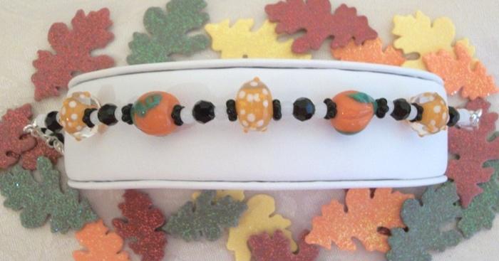 Original pumpkin lampwork bracelet